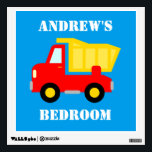 """Red dump truck vehicle wall decal for boys bedroom<br><div class=""""desc"""">Red dump truck vehicle wall decal for boys bedroom or baby nursery. Cute dumptruck illustration home decor with personalizable text for name or monogram. Removable reuseable wall art decorations for kids. Funny baby shower or 1st Birthday gift idea for children. Make your own for son, grandson, nephew etc. Construction vehicle...</div>"""
