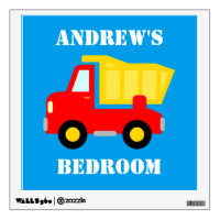 Red dump truck vehicle wall decal for boys bedroom
