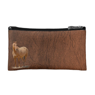 Red Dun Horse Image Leather-look Equine Art Makeup Bags