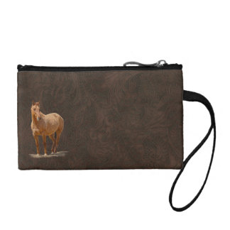 Red Dun Horse Image Leather-look Equine Art Coin Purse