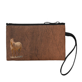 Red Dun Horse Image Leather-look Equine Art Coin Wallet