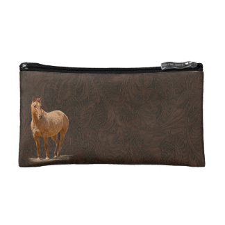 Red Dun Horse Image Leather-look Equine Art Cosmetic Bag