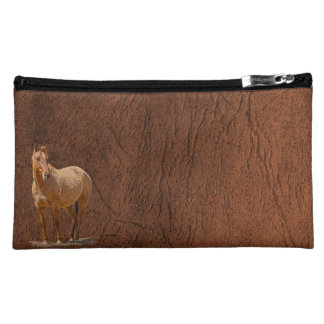 Red Dun Horse Image Leather-look Equine Art Makeup Bag