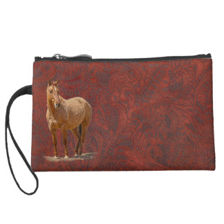 Red Dun Horse Image Leather-look Equine Art Suede Wristlet