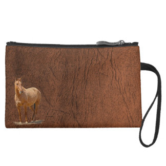 Red Dun Horse Image Leather-look Equine Art Suede Wristlet Wallet