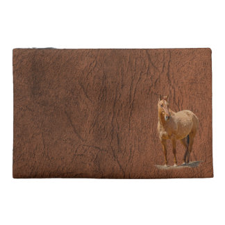 Red Dun Horse Image Leather-look Equine Art Travel Accessories Bags