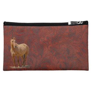 Red Dun Horse Logo Leather-look Equine Art Makeup Bag