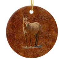 Red Dun Horse-lover's Equine Gift Design Ceramic Ornament