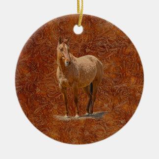 Red Dun Horse-lover's Equine Gift Design Ceramic Ornament