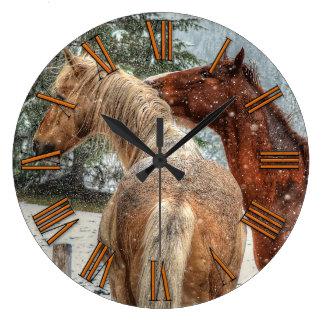 Red Dun & Palomino Winter Horses Equine photo Large Clock