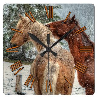 Red Dun & Palomino Winter Horses Equine photo Square Wall Clock