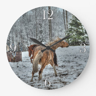 Red Dun & Palomino Winter Horses in Snow photo Large Clock