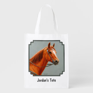 Red Dun Western Quarter Horse Grocery Bags