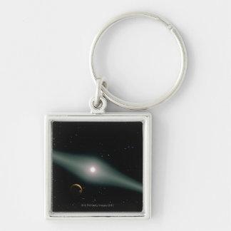 Red Dwarf Star AU Microscopii Silver-Colored Square Keychain