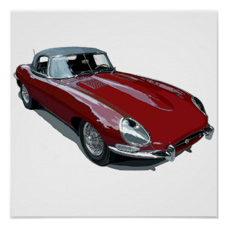 Red E Type Roadster Posters