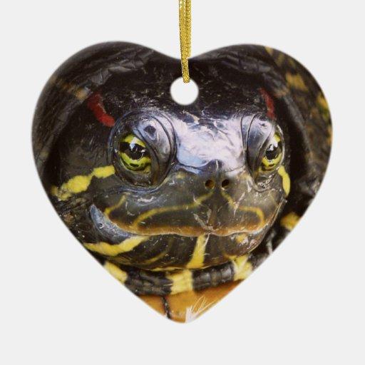 Red Eared Slider Turtle Head Ceramic Ornament