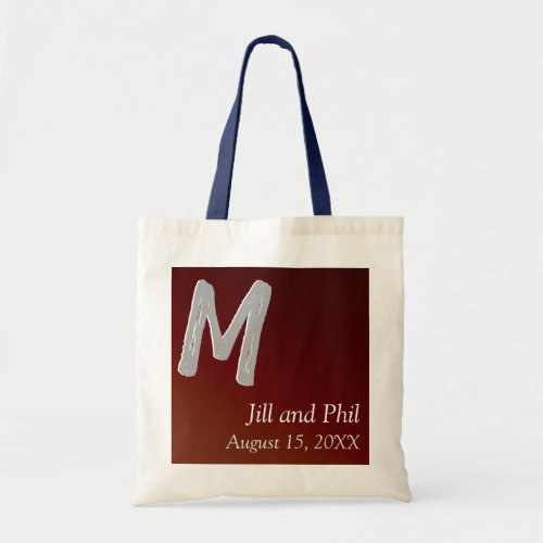Red Earthtone Classic 3d Monogram Red Tote Bag