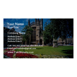 Red East front, Bath Abbey, Avon, England flowers Double-Sided Standard Business Cards (Pack Of 100)