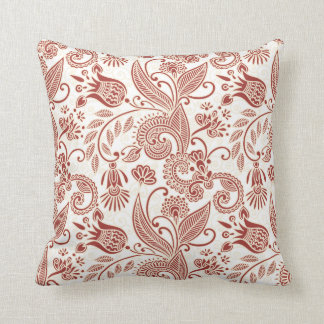 Red East Indian Flowers & Leaves on White Pillow