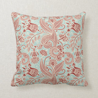 Red East Indian Flowers w/ Mint Green Background Throw Pillow