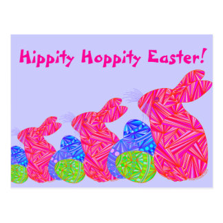 Red Easter Bunny Hippity Hoppity Easter Post Card