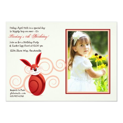 Red Easter Bunny Photo Invitation