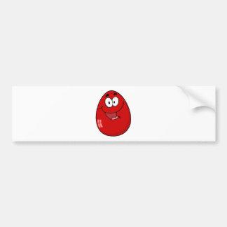 Red Easter Egg Mascot Cartoon Character Bumper Sticker