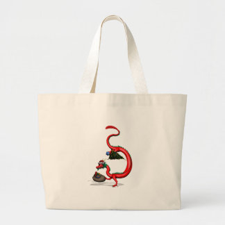 Red Eastern Dragon Large Tote Bag