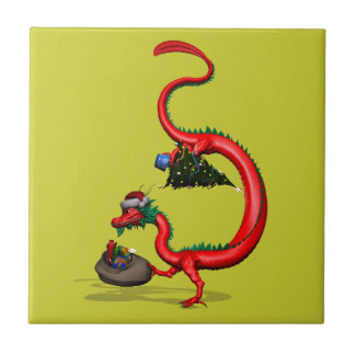 Red Eastern Dragon Small Square Tile