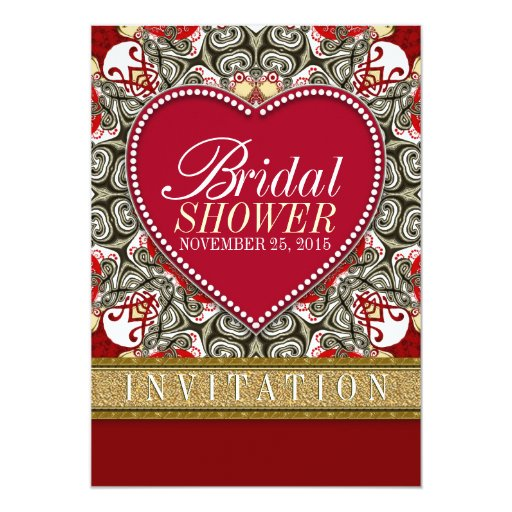 Red Eastern Love Bohemian Bridal Shower Party Card