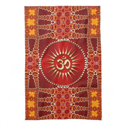 Red Eastern OM Meditation Yoga Home Decor Towel