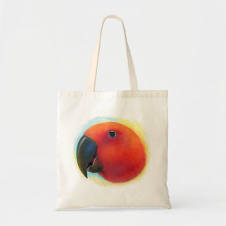 Red eclectus parrot realistic painting tote bags