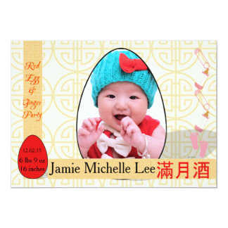 Red Egg and Ginger One-Month Baby Girl Party Card