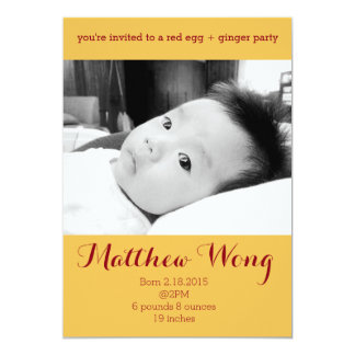 Red Egg and Ginger Party 100 days old Chinese 5x7 Paper Invitation Card