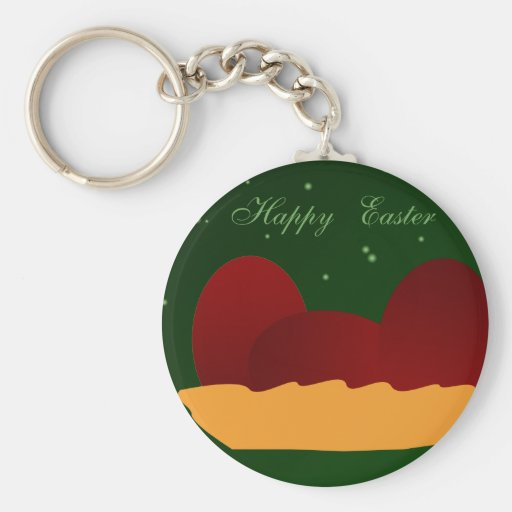 Red Eggs for Easter Basic Round Button Keychain