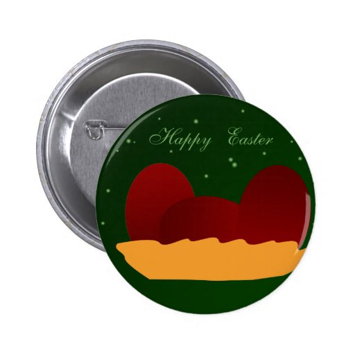 Red Eggs for Easter Pinback Button