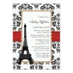 Red Eiffel Tower Parisian Bridal Shower Card