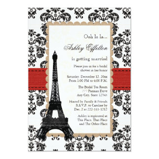 Red Eiffel Tower Parisian Bridal Shower Card