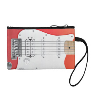 Red Electric Guitar Key Coin Clutch
