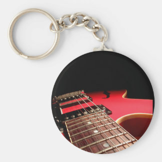 Red Electric Guitar Basic Round Button Keychain