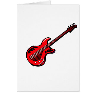 Red Electric Guitar Musical Graphic Design Solo Card