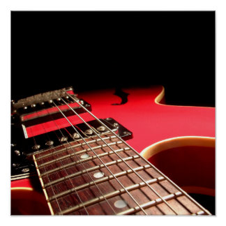 Red Electric Guitar Photo - PERSONALIZE Poster
