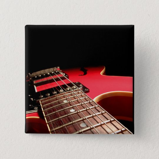 Red Electric Guitar Pinback Button