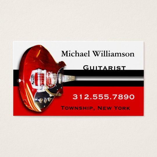 Red Electric Guitar Stripe Business Cards