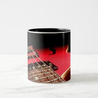Red Electric Guitar Two-Tone Coffee Mug