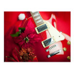 Red Electric Guitar With Christmas Ornaments Postcard