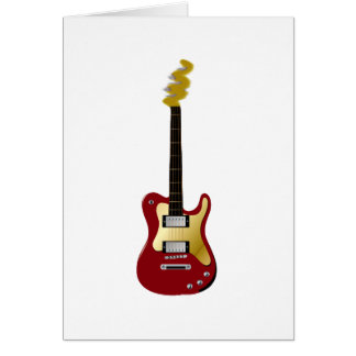 Red electric guitar yellow fizzle headstock card
