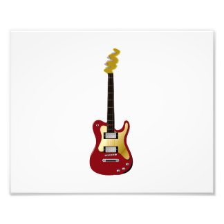 Red electric guitar yellow fizzle headstock photo