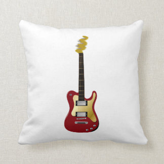Red electric guitar yellow fizzle headstock throw pillow
