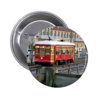 Red electric streetcar on tracks pinback buttons
